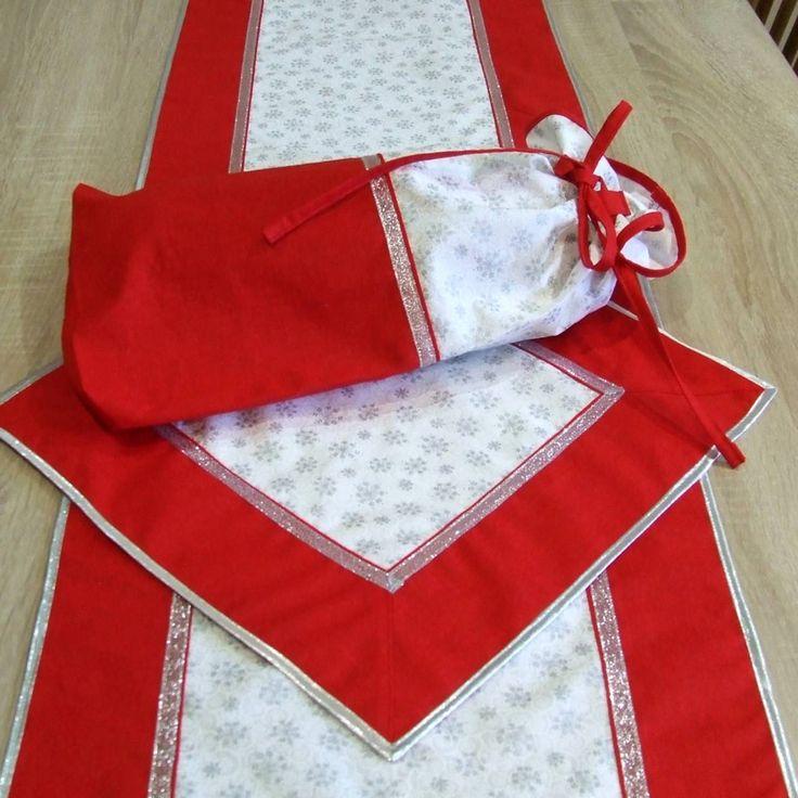 Úžitkový textil - Červeno strieborné vločky - vianočný obal na chlieb - 7147139_