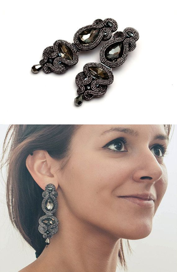Statement dangle earrings crystals black soutache. by MANJApl