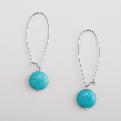 One of my favorite discoveries at WorldMarket.com: Silver Turquoise Drop Earrings