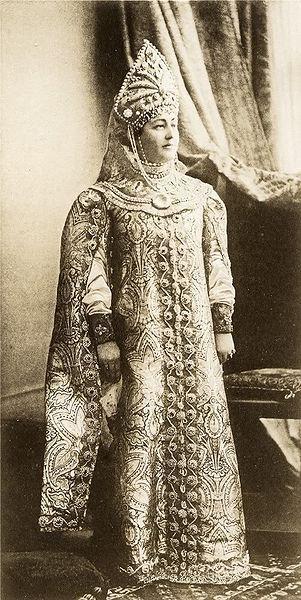 Countess Zarnekau Agrippina , nee Princess Dzheparidze wife of Prince Konstantin Petrovich of Oldenburg . dressed Boyarina 17th century.