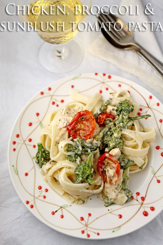Creamy chicken, broccoli and sun-blush tomato pasta - because sometimes only carbs will do!  |  cooksister.com #pasta #carbs #recipe