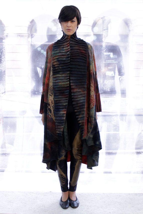 Printed wool coat Women felt coat Luxury by AnaLivniSlowFashion