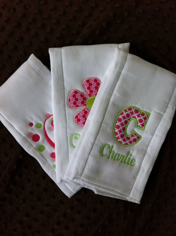 Set of 3 Personalized Burp Cloths - Diaper Cloths - Baby Girl - Monogrammed - Gift Set