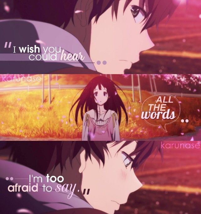 """I wish you could hear all the words I'm too afraid to say.."" || Anime: Hyouka || © edited by Karunase || karunase.tumblr.com"