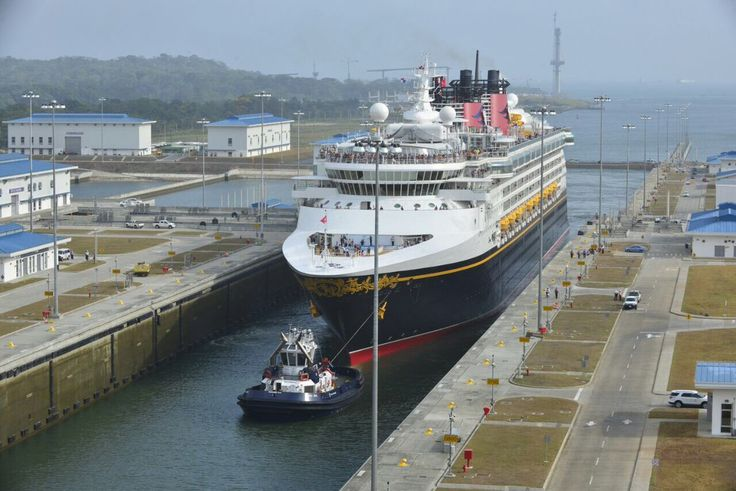First cruise ship through expanded panama canal : the MS Disney Wonder transits the Agua Clara locks of the Expanded Panama Canal, April 29, 2017. Photo: Panama Canal Authority / gCaptain