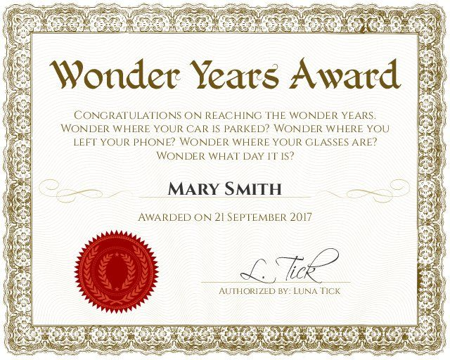 Wonder Years 60th Birthday Certificate - Customizable with the free online certificate maker