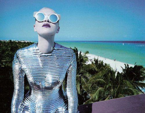 fashion blue purple silver beach retro sea sunglasses 80s lipstick shiny miami plum editorial zombie Futuristic Gareth Pugh armour ss 2011 le motel washed-out