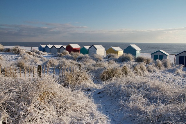 Southwold beach huts and frozen dunes