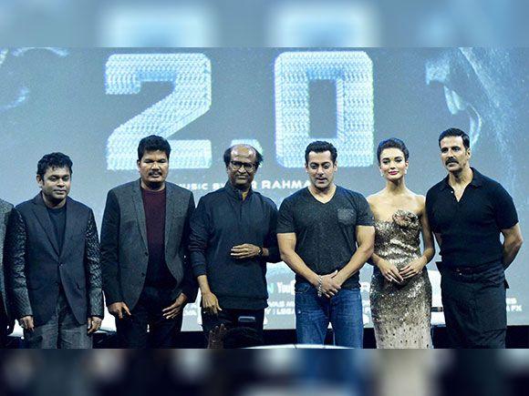 South Super star Rajinikanth along with music director AR Rahman, director Shankar bollywood actors Akshay Kumar, Salman Khan and Amy Jackson during the Rajinikanth's 2.0 first look launch