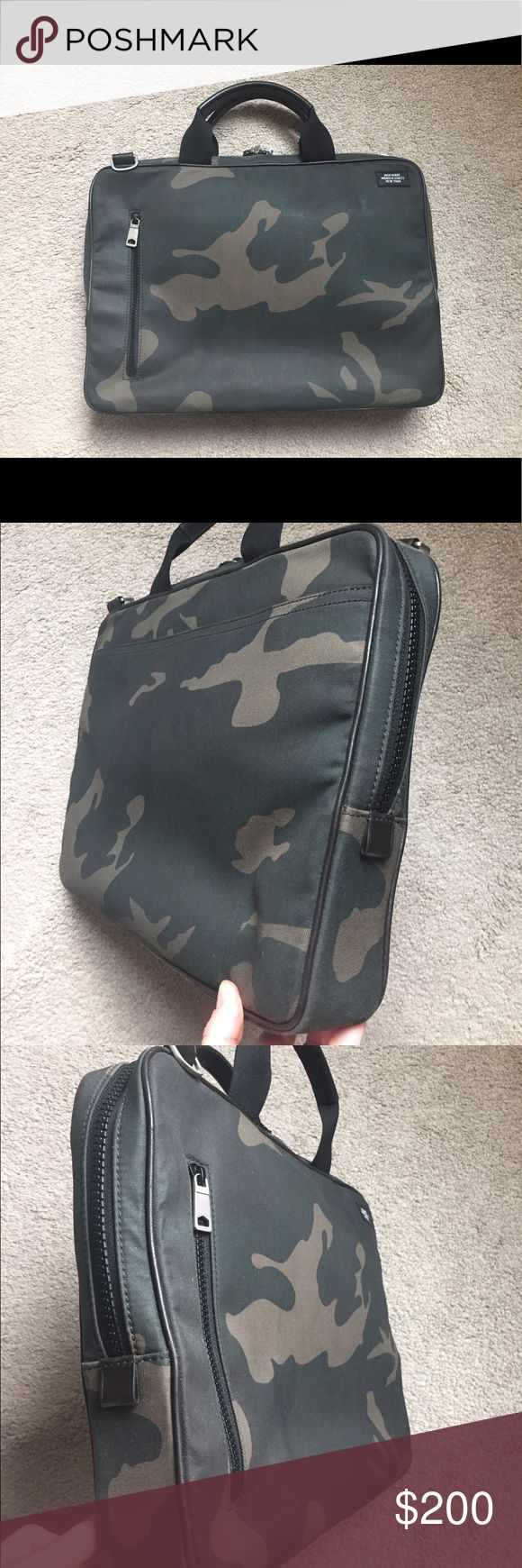 Jack Spade Camo Soft Briefcase Perfect condition Jack Spade Camo Briefcase. No issues with it. In perfect condition. Comes with dust cover bag (not pictured). Will fit laptops 13 and 15 inches. 3 inches deep. Slim style. Should strap (pictured) also included. Also listed on eBay...once it's gone, it's gone! Jack Spade Bags Briefcases