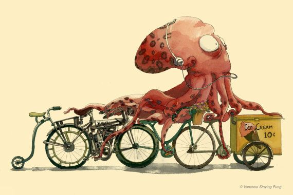 "Octopus on Bike in Hurry 13""X 19"" Elegant Watercolor & Ink Drawing Illustration. $35.00, via Etsy."