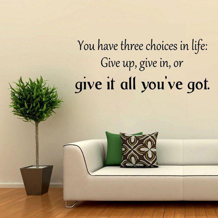 Наклейки для стен У Вас Есть Три Выбора В Жизни Вдохновляющие Слова Стикер На Стене Дети DIY Съемный Спальня Home Decor Стены Де