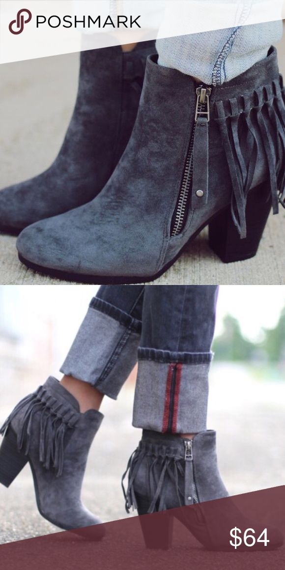 1 Left! SO CUTE! Suede Fringe Booties Available in Sizes 5.5, 6, 6.5, 7, 7.5, 8, 8.5, 9, 10 New in box.   Super fun faux suede fringed booties! Beautifully made and fits true to size! So cute for the upcoming fall and winter season! Pair these with skinnies or shorts and a band tee!   ✔️Bundle discount: 10% off 2+ items.  ❌No trades clmayfae Shoes Ankle Boots & Booties