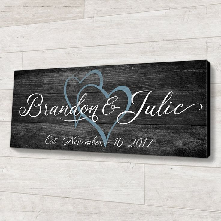 "Family Established Wood Sign Personalized Wedding or Anniversary Gift. Personalized wedding and anniversary gifts are great for many reasons, one being that they often become treasured family heirlooms. This custom wood sign is no exception, as it is personalized with the couple's first names and wedding date. 2 sizes to choose from: 8"" x 20"" x .75"", and 10"" x 24"" x .75"", both made of top quality birch wood Arrives ready to hang from the included metal sawtooth hanger. Vinyl bumpers are al"