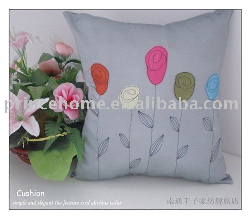 Free shipping, embroidered color flowers cushion cover/ cheap cushion cover/ high quality cushion cover/cute cushion cover US $13.98