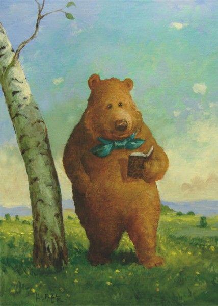Reading bear by Rudi Hurzlmeier (Artist. Germany). http://www.amazon.com/s/ref=nb_sb_noss?url=search-alias%3Dstripbooks&field-keywords=mayra+porrata&rh=n%3A283155%2Ck%3Amayra+porrata