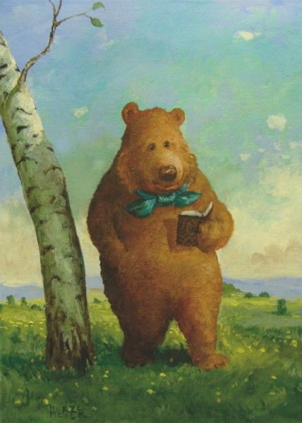 Reading bear by Rudi Hurzlmeier (Artist. Germany).  http://www.amazon.com/s/ref=nb_sb_noss?url=search-alias%3Dstripbooks&field-keywords=mayra+porrata&rh=n%3A283155%2Ck%3Amayra+porrata
