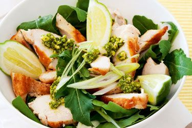 Chicken and spinach salad with coriander pesto recipe, NZ Woman's Weekly – Looking for a chicken meal with a difference? This simple, fresh salad combines chicken with the fragrant taste of coriander. – foodhub.co.nz