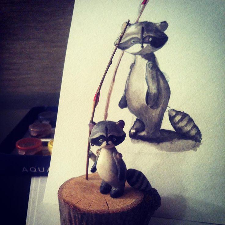 #зинадавайрисовать день 8 вот и передо мной встала задача нарисовать белый в тени, а черный на свету. Сложно. Покупателю енота рисунок... Ну вот то,что получилось в подарок :) #енот #raccoon #wood #wooden #деревянныеигрушки #woodentoy