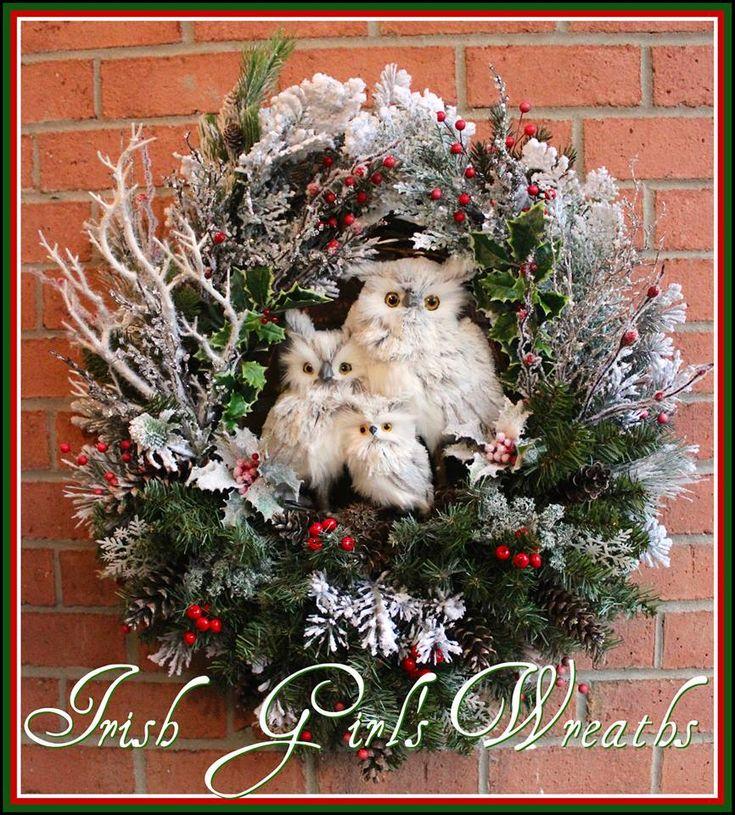 Gray Winter Owl Family Christmas Wreath, by Irish Girl's Wreaths