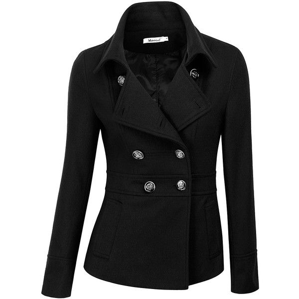 Doublju Black Wool-Blend Peacoat ($30) ❤ liked on Polyvore featuring plus size women's fashion, plus size clothing, plus size outerwear, plus size coats, plus size, pea jacket, wool blend coat, plus size pea coat and womens plus coats