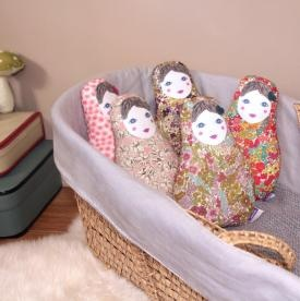 Matryoshka dolls in real Liberty fabric with a music box inside.  Charming and old fashion melodies of Beatles, Serge Gainsbourg or Edith Piaf.  www.barnabeaimelecafe.com