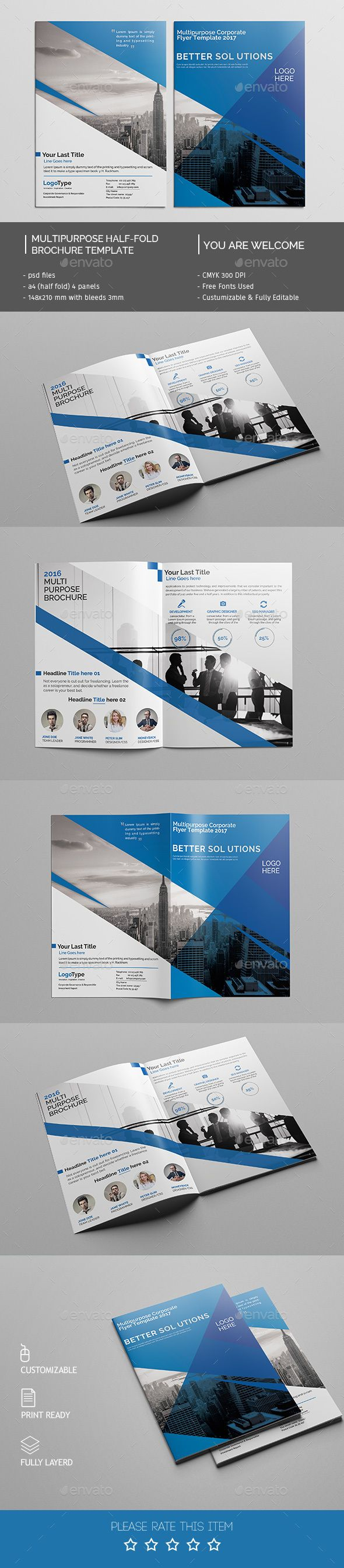 Corporate Bi-fold Brochure Template PSD. Download here: http://graphicriver.net/item/corporate-bifold-brochure-template-02/14634259?ref=ksioks