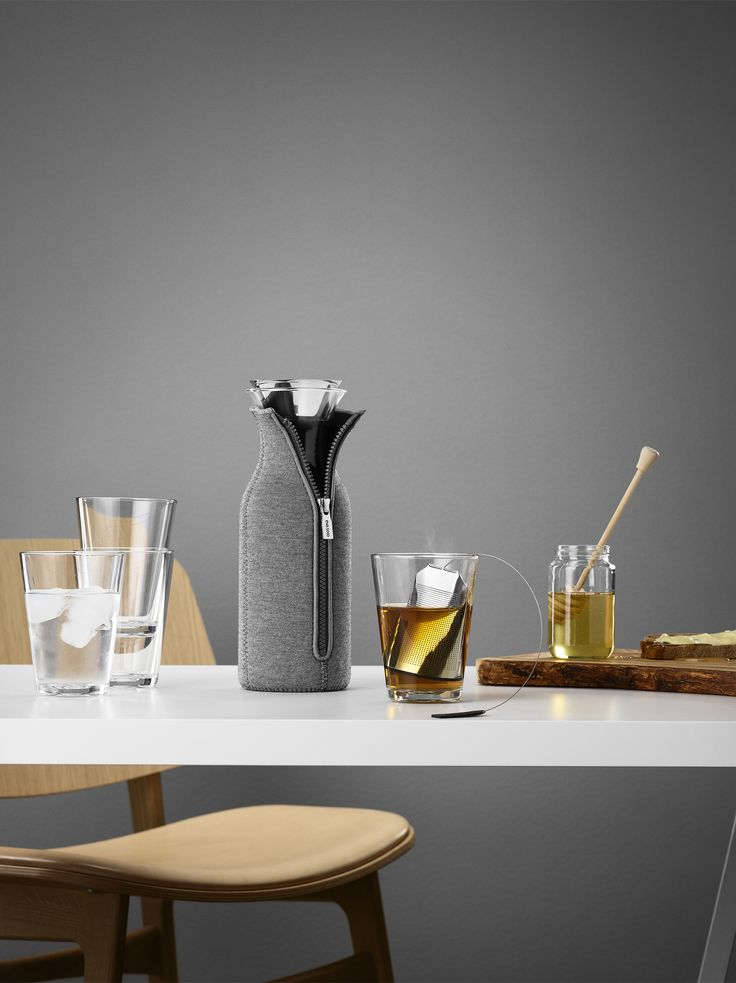 Fridge carafe, glasses and tea bag by Eva Solo