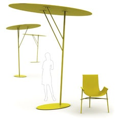 Outstretched tree arms are what inspired the look of Ilaria Marelli's Branch, a new collection of outdoor tables, chairs, and a shade. Witness the sun shade with its trunk- and branch-like supports holding a minimalist disc aloft. The three chair versions allow users to remove the fabric seat for easy storage or for changing the look of the pieces. All frames are constructed of varnished metal rods. 39-039-2726260; coroitalia.it.