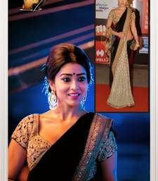Buy multicolor embroidered velvet saree with blouse bollywood-saree online