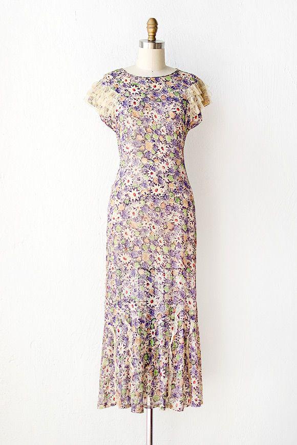 vintage 1930s dress | 30s dress | Flocks of Violets Dress