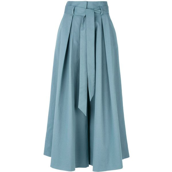 Temperley London tie waist culottes ($875) found on Polyvore featuring women's fashion, pants, capris, trousers, blue, temperley london, tie waist trousers, tie waist pants, blue trousers and blue pants