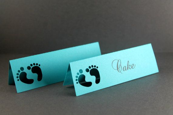 Baby Shower Place Names Set of 25 Food Labels by ThePaperMedley, $5.00 #BabyShower  #Teal #Placenames