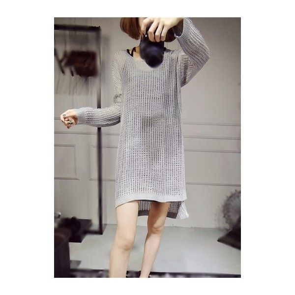 Asymmetric Hem Beige Mini Sweater Dress (£16) ❤ liked on Polyvore featuring dresses, beige, sleeved dresses, pattern dress, beige long sleeve dress, sweater dresses and long sleeve dress