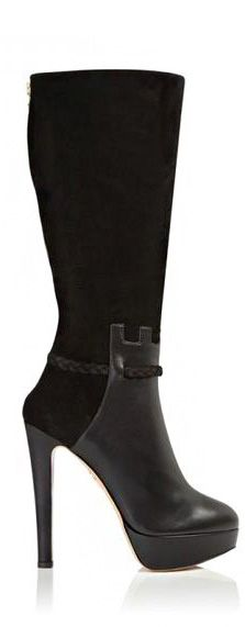 Cheap Flights Charlotte Olympia Knee Boots Leather Suede Black Theodora And