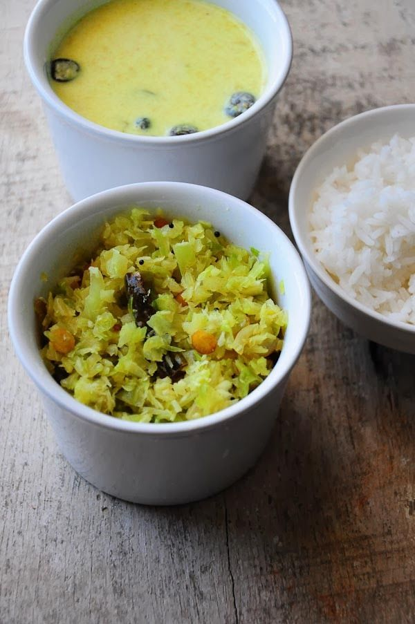 Cabbage poriyal recipe, a dry vegetarian South Indian curry with cabbage, coconut, and chillies. Goes great with rice and any curry.
