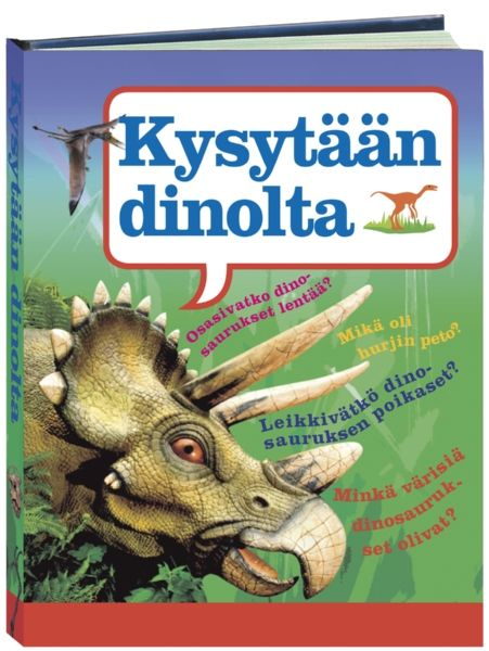 Oletko koskaan miettinyt, osasivatko dinosaurukset uida? Mikä dinosaurus oli kaikista hurjin tappaja? Entä millaisia pesiä nämä maapallon historian suurimmat maaeläimet tekivät?   Näihin ja moniin muihin kysymyksiin löydät vastaukset upeasti ja havainnollisesti kuvitetusta Kysytään dinolta -kirjasta. Kirjaa on hauska selailla pienissäkin pätkissä – tarjolla on paljon faktoja ja yksityiskohtia, joihin uppoutuu kuin huomaamatta.