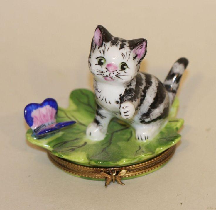 Limoges France Trinket Box Black & White Tabby Kitten on Leaf with Butterfly