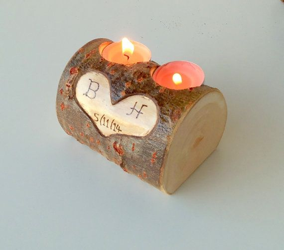 Wood Stump Candle Holder Candle Holder with 2 Tea Light Spots