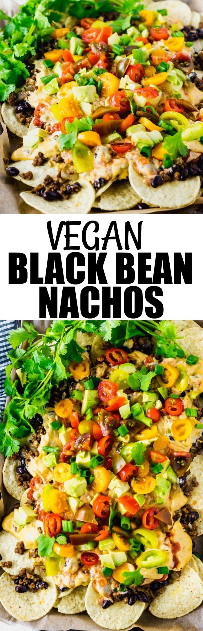 Vegan Black Bean Nachos #superbowlparty #superbowl #gamedayfood  #glutenfreerecipes