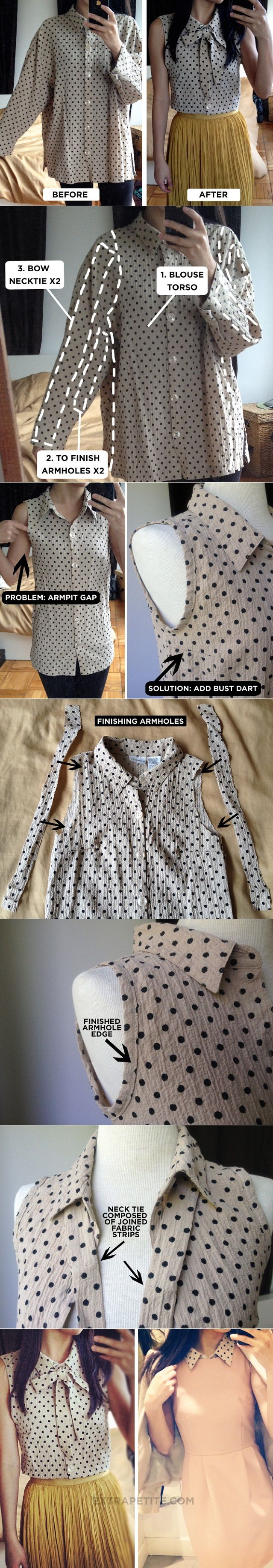 Turn a Large Old Shirt into a Chic Blouse - DIY  If I only I could sew...
