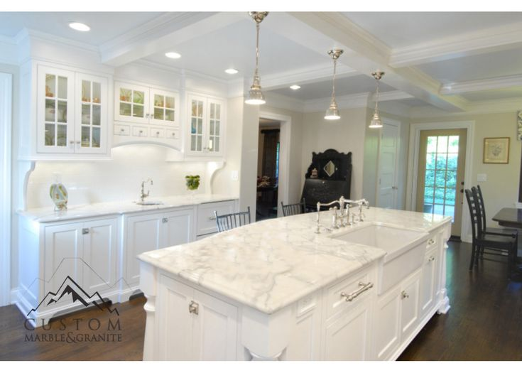 Beautiful white calacatta gold marble counters with ogee for Show me beautiful kitchens