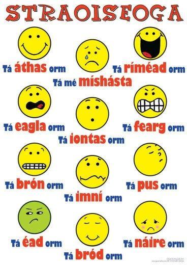 Straoiseoga as Gaeilge. Emoticons in Irish.