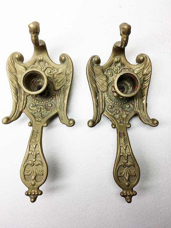 Coppia di candelieri Vintage bronzo candelieri a mano a