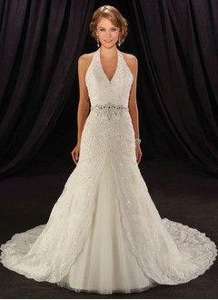 Trumpet/Mermaid Halter Chapel Train Satin Tulle Wedding Dress With Lace Beading