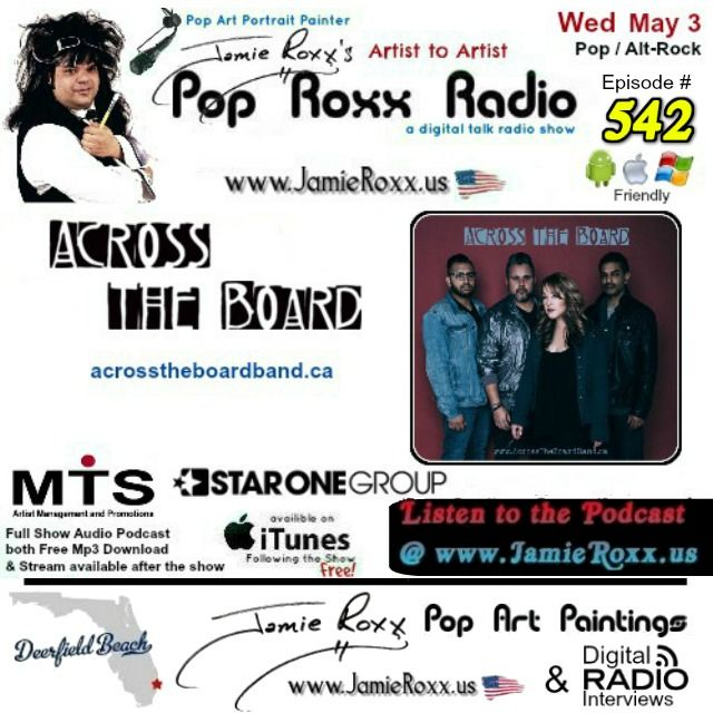 🎧 Tonight's Episode (#542) of the Pop Roxx Radio Talk Show with Featured Guests: #Toronto #Canada's Across The Board (#Pop / #AltRock) Has now been converted to a #Podcast and is now archived at: my website (www.JamieRoxx.us) BlogTalkRadio (http://tobtr.com/s/9905087) and up for FREE on #iTunes