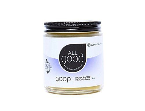 All Good Goop Organic Healing Balm - 4 oz  Great for cuts, scrapes, abrasions, minor burns, sunburn, insect bites, stings, dry skin, chapped lips, diaper rash, blisters, cracked hands, callouses, scars, and so much more.  Handcrafted in a Solar Powered Kitchen with intention for healing in every jar  Made with Certified Organic Herbs and Olive Oil, including hand harvested calendula from our farm  Petroleum free  Gluten Free