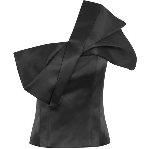 SATIN BOW TOP ($69) ❤ liked on Polyvore featuring tops, blouses, going out tops, satin bow blouse, night out tops, one sleeve top and one shoulder blouse