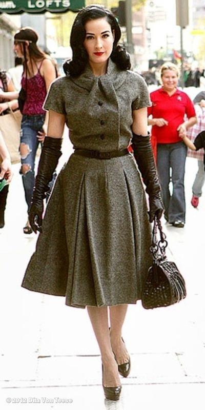 Dita in a vintage Dior dress.