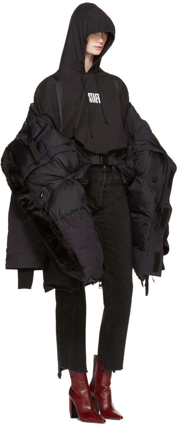 Vetements - Black Hanes Edition 'Staff ' Hoodie